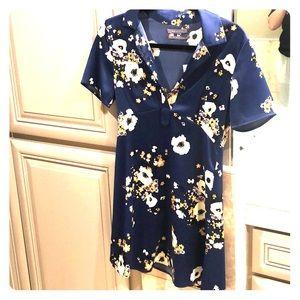 Silk floral shift dress